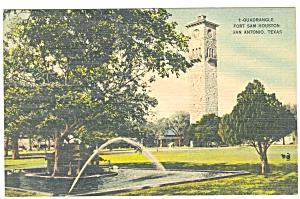 Fort Sam Houston Quadrangle San Antonio TX Linen Card p5872 (Image1)