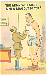 Army Physical Exam Comical Linen Postcard (Image1)
