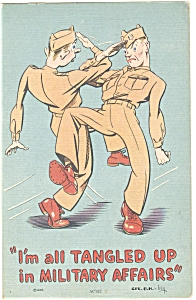 All Tangled Up Military Affairs Comical Linen Postcard p5874 (Image1)