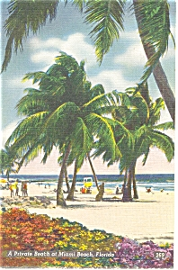 Miami Beach Florida Private Beach Linen Postcard P5918