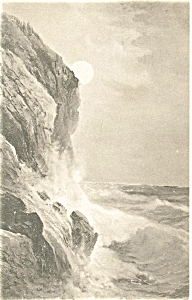 Waves On Rocky Coast Vintage Postcard P5969 1914