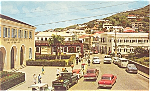 Main Square St Thomas Virgin Islands Postcard p6133 (Image1)