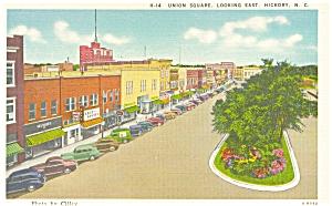 Hickory NC Union Square Postcard p6202 Cars 30s (Image1)