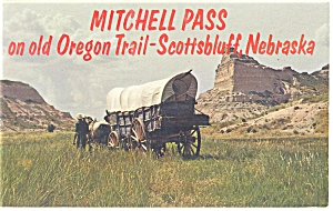 Scottsbluff, NE Mitchell Pass Covered Wagon Postcard (Image1)
