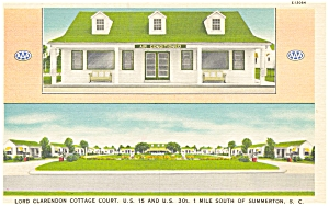 Summerton Sc Lord Clarendon Cottage Court Postcard P6417