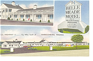 Harrisonburg VA Belle Meade Motel Linen Postcard p6568 (Image1)