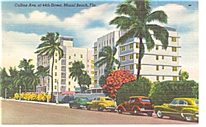 Miami Beach FL Collins Ave Hotels Linen Postcard p6578	 (Image1)