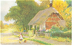 Thatched Roof Cottage Scene Undivided Back Postcard P6619