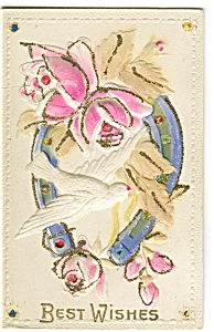 Best Wishes Embossed Glitter Early Postcard P6642
