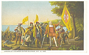 Landing Of Columbus On San Salvador Postcard P6648
