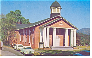 Cullowhee, NC Baptist Church Postcard Vintage Cars (Image1)