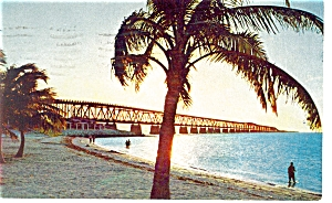 Sunset Over Bahia Honda Bridge Fl Keys Postcard P6786
