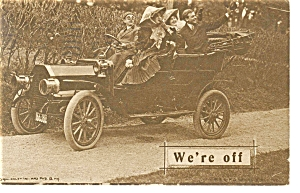 We're Off Postcard Car 1910s (Image1)