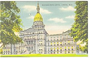 Lansing, MI, State Capitol Linen Postcard (Image1)