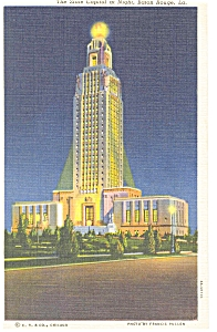 Baton Rouge, LA, State Capitol at Night Postcard (Image1)