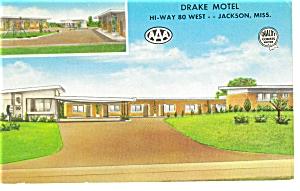 Jackson MS The Drake Motel Postcard p6846 (Image1)