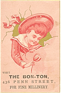 The Bon Ton Millinery Victorian Trade Card p7048 (Image1)