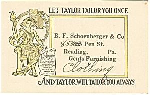 J L Taylor Clothier Trade Card p7068 (Image1)