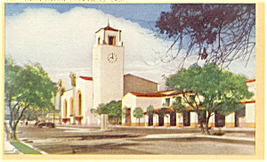 Los Angeles CA Union Station Linen Postcard p7101 (Image1)