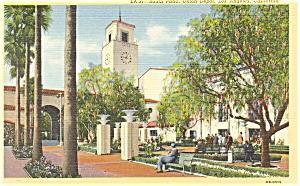 Los Angeles CA South Patio of Union Depot Linen Postcard p7104 (Image1)
