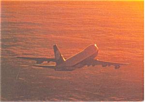 Lufthansa B-747 Jetliner in Flight Postcard p7116 (Image1)
