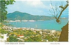 Cruise Ships at St Thomas Postcard p7128 (Image1)