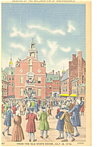 Boston  MA Old State House Linen Postcard p7151 (Image1)