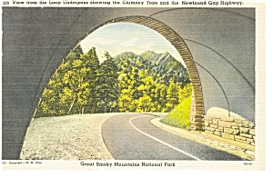 Chimney Tops From Loop Underpass TN Postcard p7159 (Image1)