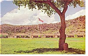 Fort Davis TX Flagpole and 37 Star Flag Postcard p7168 (Image1)