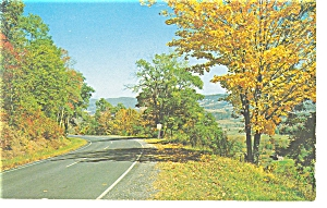 Highway Scene With Fall Foliage Postcard P7175