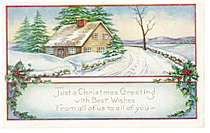 Just A Christmas Greeting  Postcard p7195 1923 (Image1)