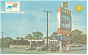 Duff's Quality Courts Motel, Virginia Postcard Old Cars (Image1)