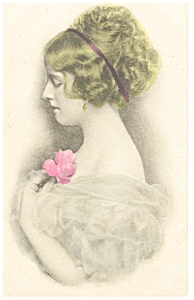 Victorian Girl With A Rose Postcard P7433