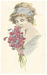 Victorian Girl With Red Flowers Postcard P7438