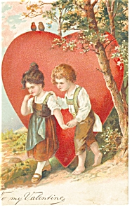 Valentines Postcard Young Lad and Lass 1908 (Image1)