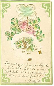 St Patrick' s Day Postcard Horseshoe and Shamrocks p7458 1907 (Image1)