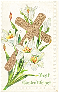 Easter Postcard Cross and Lillies 1911 (Image1)