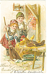 Easter Postcard Children with Chicken on Nest 1907 p7466 (Image1)