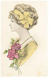 Victorian Girl, with Red Roses Postcard (Image1)