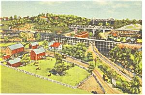 Hamburg  PA Roadside America Trestle Bridge Postcard p7576 (Image1)