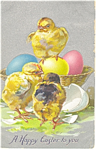 Easter with Chicks Postcard Raphael Tuck Sons 1910 p7602 (Image1)