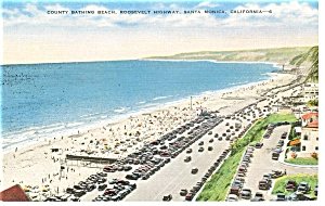 Bathing Beach,Santa Monica, CA, Linen Postcard (Image1)