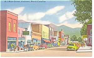 Main Street Andrews NC Linen Postcard p7609 Old Cars (Image1)