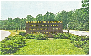 US Army Fort Eustis Entrance Postcard (Image1)