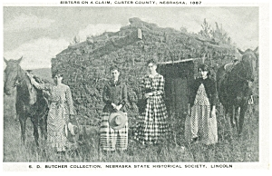 Custer County, NE, Sisters on a Claim Postcard (Image1)