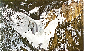 Winter at Lower Falls, Yellowstone National Park Pcard (Image1)