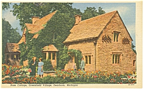 Dearborn MI Greenfield Village Rose Cottage Linen Postcard p7883 (Image1)