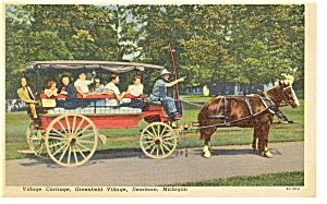 Dearborn MI Greenfield Village Carriage Linen Postcard p7884 (Image1)