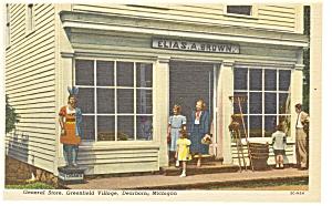 Dearborn MI Greenfield Village Store Linen Postcard p7887 (Image1)