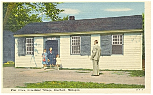 Dearborn, MI Greenfield Post Office, Linen Postcard (Image1)